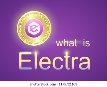 Banner with realistic gold coin electra and dark blue background . Stock illustration. Crypto currency golden coin symbol isolated on background