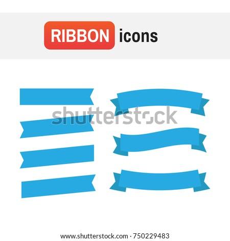 Banner Ribbon Flat Ribbons Banners Flat Stock Illustration 750229483