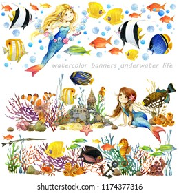 banner set with mermaids and cute fishes. marine watercolor background for children