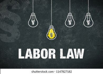"""Banner showing the text """"labor law"""" on dark background with light bulbs."""