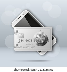 Banner with smartphone & credit card image. Advertising promo poster with phone & bank card icon. Communicator PDA with steel safe, door of a bank vault combination lock.. illustration