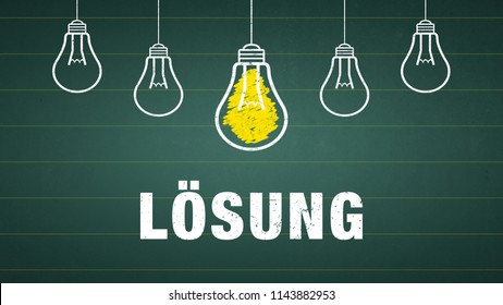 Banner Solution: german word Lösung - text and light bulbs on a chalkboard