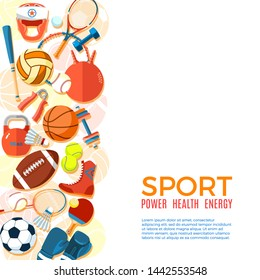Banner of sport balls and gaming equipment. Background for promotional posters, advertising flyers, brochure or booklet, discount banners, sale. Healthy lifestyle tools. Illustration.