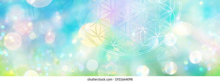 Banner: symbol flower of life in a brightly shining field of abstract light in brilliant spring colors