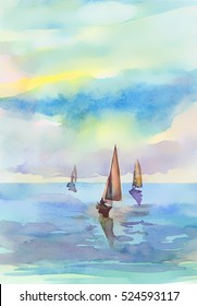 Banner in watercolor style. Seascape. Sunrise, sailing, sea and clouds.