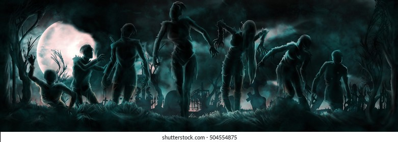 Banner with zombies silhouettes. Night banner with a group of zombies, cemetery, moon, trees, grass