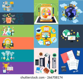 Banners cof generating money in laboratory with alchemy experiments and global investment with piggy in flat design. Globe surrounded finance, banking and office icons. Graphic design. Raster version