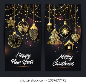 banners illustration of christmas background with christmas ball star snowflake confetti gold on black color.