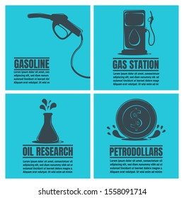 Banners of Oil Business. Oil Development and Extraction Flyer. Gasoline, Petrol Station, Research. World Petrol Production Background. Oil Biz Symbol, Icon and Badge. Simple illustration.