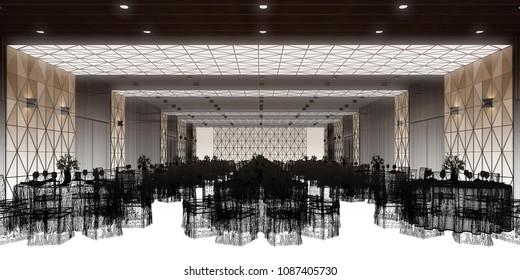 banquet hall 3d,rendering