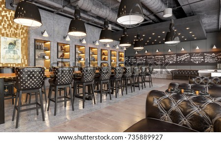 Banqueting hall in the restaurant. Modern restaurant. Banqueting hall in the loft style. Banqueting hall with large sofas. 3d illustration.