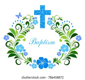 Baptism Card Design with Cross. Illustration