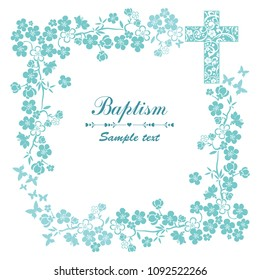 Baptism Card Design with Cross. Mint Baptism. Christening. First Communion.  Illustration
