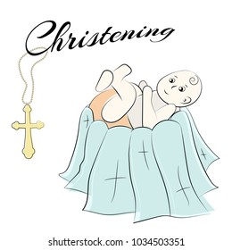 Baptism of the child in the church, christening. set of isolated elements, drawn by hand. Used for postcards, congratulations, wallpapers, prints, backgrounds.