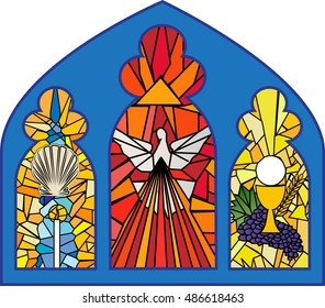 Baptism, confirmation and eucharist. sacraments of christian initiation, color church stained glass window illustration.