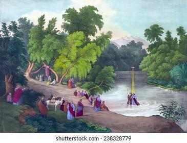 Baptism of Jesus Christ in the River Jordan, print ca 1867.