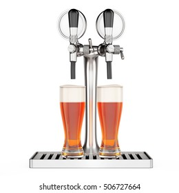 Bar Beer Tap with Beer Glasses closeup on a white background. 3d Rendering