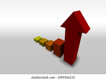 Bar chart with growth and arrow. A bar chart reveals aggressive growth indicated by an arrow.
