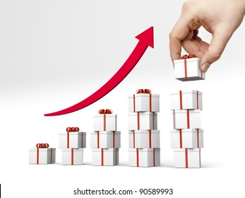 Bar chart made of gift boxes with red ribbon. Hand puts another gift box on the top of the highest bar.