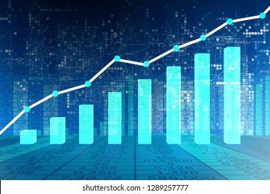 Bar chart showing growth - 3d rendering