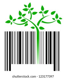 bar code with green sprouts growing illustration design over white