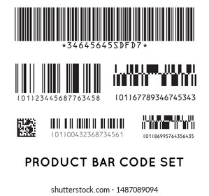 Bar code icon. Set of Modern Flat Barcode.  Can be use as a template for Products. Mockup. Raster.