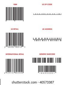 Bar codes of various formats (UPC, ISBN, Zip Code, UK address and generic bar codes. ALL Bar Codes are correct format but are FAKE.