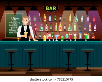 Bar counter with bartender and wine bottles on the shelves. illustration