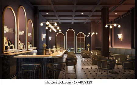 Bar counter with chairs.Modern classic style interior.3d rendering