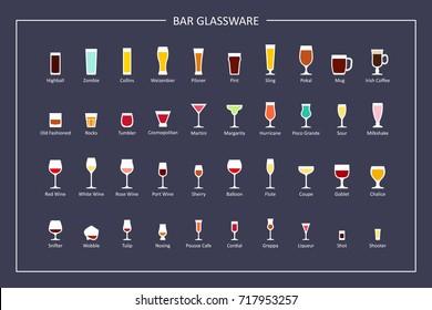 Bar glasses types guide, flat icons on dark background. Horizontal orientation. Raster version