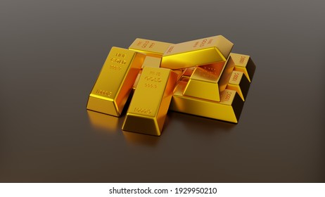 Bar of gold for Business and Investment., 3D Rendering.