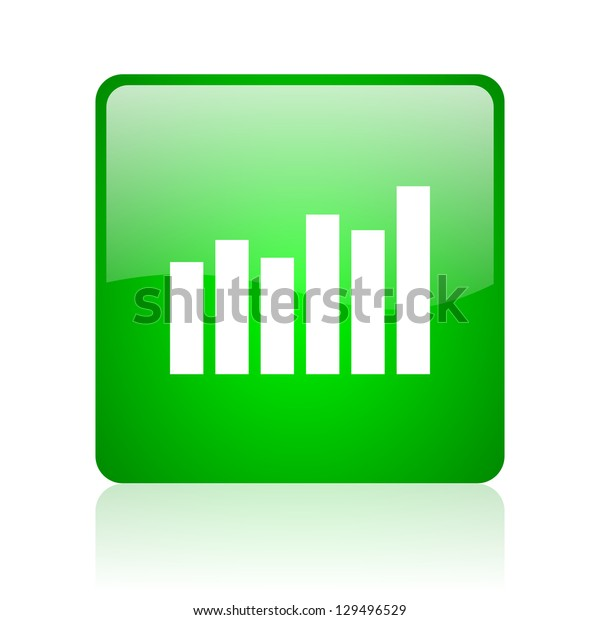 bar graph green square web icon on white background