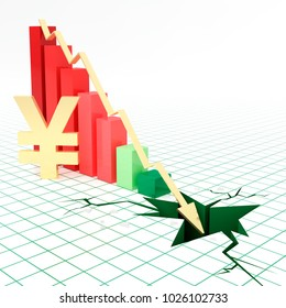 Bar graph and moving down arrow with Jpanese yen currency symbol.