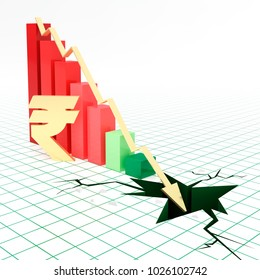 Bar graph and moving down arrow with Indian rupee currency symbol.