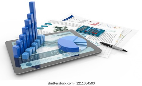 bar graph, tablet and report paper isolated on white, 3d illustration