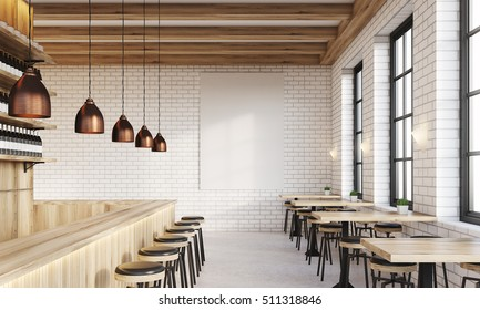 Bar interior with counter, stools and square tables. Vertical poster on white brick wall. Concept of drinking. 3d rendering. Mock up