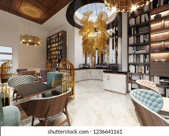 Bar with a library in a trendy modern style with bright colorful furniture and stylish design. 3d rendering.