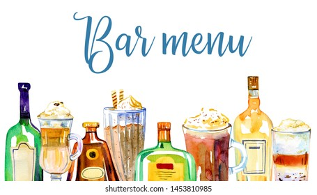 Bar menu cover design template. Glass alcohol bottles and coffee drinks in a row. Watercolor hand drawn sketch illustration on white background