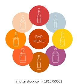 Bar menu icons. Bottle of vodka, red wine, champagne, whiskey, liquor, beer, tequila, martini, rum in form of thin lines. Isolated object design beverage. Graphic illustration in flat style.