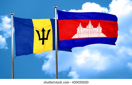 Barbados flag with Cambodia flag, 3D rendering