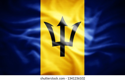 Barbados flag of silk -3D illustration