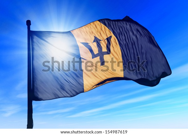 Barbados flag waving on the wind
