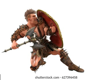 barbarian cartoonon the flor 3d illustration