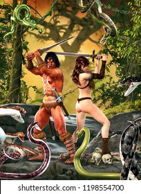 A barbarian fantasy warrior or warlord and a beautiful princess fight with their swords against an attack of giant snakes, 3d render painting