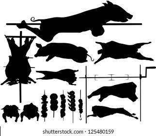 Barbecue (BBQ) related objects silhouettes: pork, calf, lamp, poultry, skewer, roasting jack. Raster version.