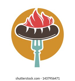 Barbecue or grill sausage logo template.  icon of bbq curry wurst on fork for picnic party or meat delicatessen store
