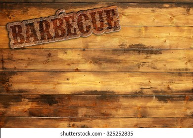 barbecue label nailed to a wooden background