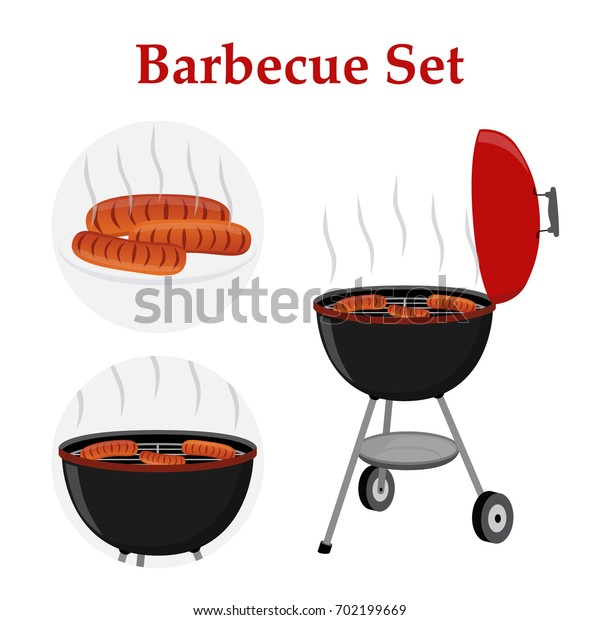 Barbecue set - grill station, sausage, fried meat. Picnic illustration. Made in cartoon flat style