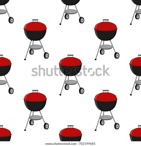 Barbecue set - grill station seamless pattern. Picnic illustration. Made in cartoon flat style