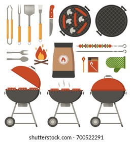 Barbecue tools collection. BBQ utensils set. Barbeque grill appliances elements.